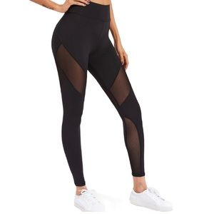 Mesh Leggings Activewear Black Women's Size Medium